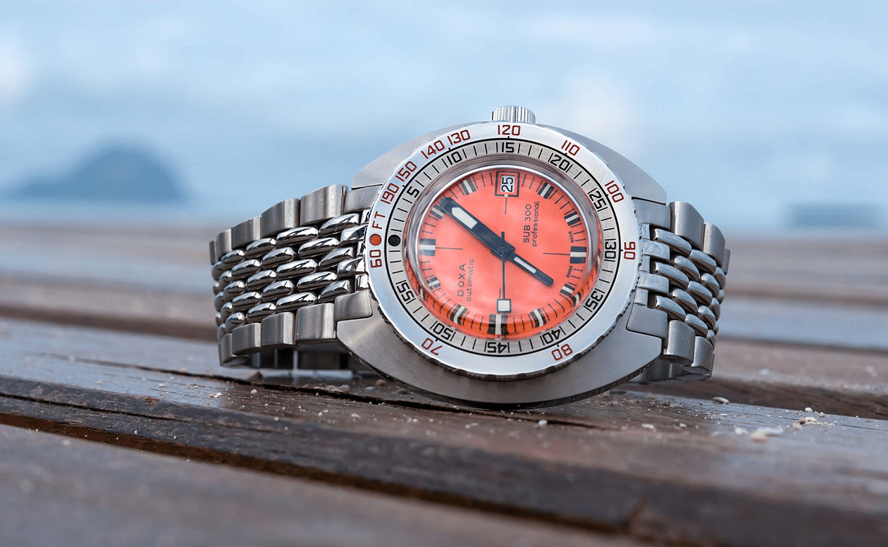 Silver DOXA sub 300 diving watch