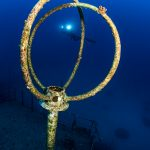 Silouhette of diver in Mauritius